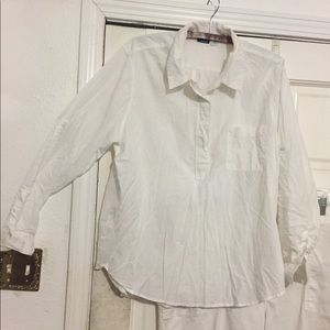 Shadow pinstripe cotton popover shirt.
